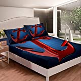 Loussiesd Girls Red Anchor Bedding Set Nautical Style Bed Sheet Set For Kids Teens Ocean Themed...