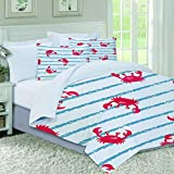 not Pattern Blue Striped Cute Watercolor Crabs Wildlife Baby Red Kids Nautical Sea Bright...