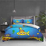 Yellow Submarine 3-pack (1 duvet cover and 2 pillowcases) bedding Nautical Kids Colorful Fish...