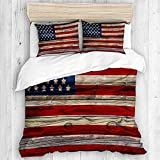 MEJX bedding-Duvet Cover Set,4th of July Wooden Planks Painted as United States Flag Patriotic...