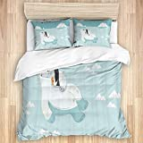FAKAINU Washed Cotton Duvet Cover Set,Polar Bear Cartoon Penguin Cartoon Iceberg Ocean Nautical...