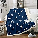 Loussiesd Nautical Fleece Throw Blanket Ocean Anchor Decor Sherpa Blanket Sailor Pirate Captain...