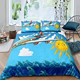 Raaooaceo® 3D Bed Linens ( King size 240 x 220 cm) airplane sun nautical Duvet Cover Set...