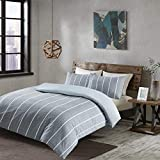 Eben Reversible Printed Duvet Cover Set Double Size - Grey & White Neatly Striped Motifs Design - 3...