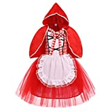 FYMNSI Girls Little Red Riding Hood Costume Kids Fairy Tale Princess Fancy Dress Up Carnival Party...