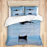 Ttrsudddsyy Duvet Cover Sets Bed Sheets,Airplane Barge Nautical Trade Tanker 3D,3 Piece Bedding Set...