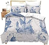 HUA JIE Crib Sets Bedding,Nautical Decor Duvet Cover Set Sailboat Quilt Cover Set Queen Size Blue...