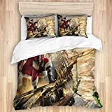 Duvet Cover,Funny Christmas Cool Xmas Santa Claus on Nautical Pirate Ship on Ocean Tapestries...