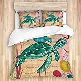 3 Pieces Duvet Cover,Watercolor Sea Turtle Bath Curtains Creature Nautical Ocean,Quality Bedding Set...
