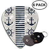 Steering Wheels and Anchors Guitar Picks Celluloid Guitar Plectrums,6 Packs in Holder Case for...