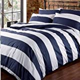 Louisiana Horizontal Navy & White Stripe Duvet Cover Set 200 TC-King