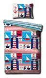 Children's Cot Bed/Junior Bed/Toddler Bed Duvet Cover and Pillowcase Sets - 120cm x 150cm (Maritime...