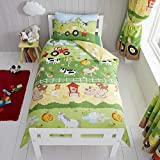 Happy Linen Company Kids Boys Girls Farm Animals Counting Sheep Green Yellow Reversible Toddler Cot...