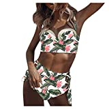 Swimsuits for Women Bohemian Floral Print Bathing Suits Push Up High Waisted Bottom 2 Piece Bikini...