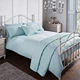 Sleepdown Pinsonic Blue Geometric Panel Luxury Soft Duvet Cover Quilt Bedding Set With Pillowcases -...