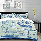 bedding - Duvet Cover Set, Nautical Anchor,Whale Sail Boat Steering Wheel and Old Lighthouse Fishing...