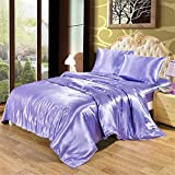 JIEDEGANJUE 100% Satin Silk Bedding Set Queen King Size Bed Set Quilt Duvet Cover Linens And...