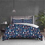 Anchor 3-pack (1 duvet cover and 2 pillowcases) bedding Nautical Arrangement with Ship Captain Boats...