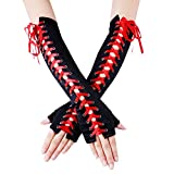JISEN Womens Full Length Fingerless Lace Up Arm Warmer Satin Gloves Red