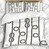 Duvet Cover Sets Strong Navy Pattern Nautical Rope Knot Cord Flat Abstract Thread Retro Simple...
