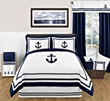 Anchors Away Nautical Navy and White Boys 3 Piece Full / Queen Bedding Set