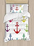 Anchor Twin Size Duvet Cover Set by Ambesonne, Colorful Icons in Circular Design Nautical Maritime...