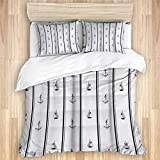 ZYLASTORE Bedding Duvet Cover 3pcs,Anchor and Ship with Black Stripes Nautical Themed Navy,soft...