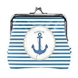 BONIPE Blue White Stipe Nautical Anchor Coin Purse Leather Mini Clutch Pouch Wallet for Women Girls