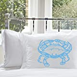 SALE One (1) Light Blue Crab White Standard Nautical Pillowcase Pillow Cover Case Bedding Room Decor
