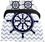 3 Pieces Duvet Cover Nautical Rudder Quilt Cover with Zipper Closure, 3 Pieces(1 Duvet Cover + 2...