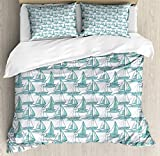 LnimioAOX Marine Duvet Cover Set, Continuous Nautical Themed Pattern of Sailboats Sketch on Sea,...