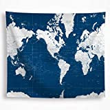 VAKADO Nautical World Map Tapestry Wall Hanging Ocean Geography Painting Modern Wall Art Blanket...