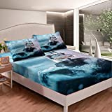 Loussiesd Boys Nautical Decor Bed Sheet Set For Kids Adults Sailboat Printed Fitted Sheet Ocean...