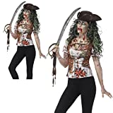 Fancy Dress VIP Large Adult Ladies Zombie Pirate Wench T-Shirt Halloween Costume