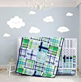 Boy Crib Set Green Plaid, 3 Pieces Nursery Bedding Sets for Baby, Rustic Checks Design in Blue,...