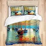 Duvet Cover,Colorful Nautical Vintage Pirate Ship Watercolor Sailboat Turquoise Yellow Blue,Bedding...