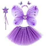 ZJstyle Girls Fairy Costume Set Princess Tutu Skirt Fairy Magic Butterfly Wings Dress Up Fantasy...