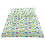 Duvet Cover Set Colorful Seaweed and Coral Pattern Undersea Plantation Marine Lifestyle Nautical...