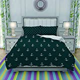 FYCORDB Duvet Cover Set-Bedding,Nautical Pattern with Classic Colors and Anchors Simplistic Design...