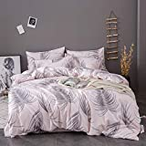 OSVINO Simple Style 100% Microfiber Botanical Pattern Bedding Quilt Comforter Duvet Cover Set with...