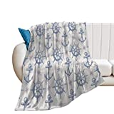 Bedding Fleece Blanket, 60' x 80' Bed Throws, Nautical Hand Drawn Compass Anchor with Rope Ship...
