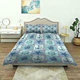 Duvet Cover,Ships Wheel Nautical Patchwork Pattern with Rope Starfish Sailing Anchor and,Luxury...