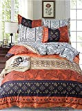 Adam Home Reversible Duvet Cover Set (King, Moroccan Amberglow) - Ultra Soft Printed Quilt Cover Set...
