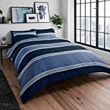 Sleepdown Navy Blue Banded Stripe Reversible Soft Easy Care Duvet Cover Quilt Bedding Set with...