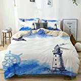 Beige Duvet Cover,Farm House Decor,Nostalgic Watercolors with Gull Ancient Anchor Lighthouse...
