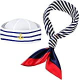 Geyoga Sailor Hat and Scarf Set for Women Fancy Navy Outfit Blue with White Sail Hat Navy Sailor...