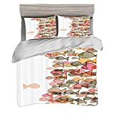 Duvet Cover Set Super King Size(260 x 220cm) with 2 Pillow Shams Fish Colorful Fish Nautical Coastal...