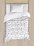 Nautical Decor Duvet Cover Set by Ambesonne, Marine Elements Featured Lifebuoy Anchor Compass Sea...