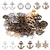 Aweisile 100 Gram Anchor Charms Anchor Pendant Mixed Antiqued Style Antique Silver Boat Anchors...