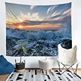 Loussiesd Ocean Wave Tapestry for Girls Boys Children Sea Wave Surfing Wall Blanket Sunset Wall...